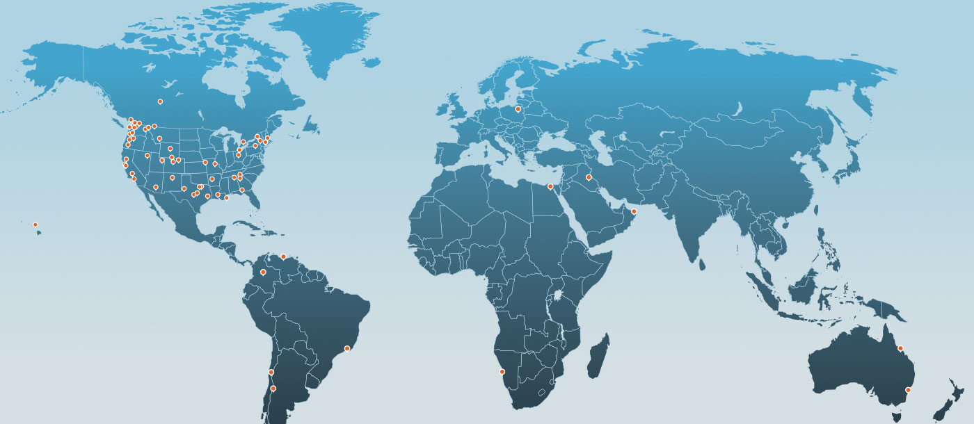 World map of Water Tectonics projects