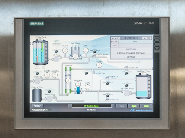 ultrafiltration water treatment system touch screen interface